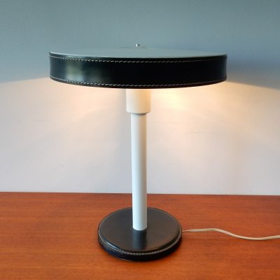 Green & white desk lamp in metal & leather