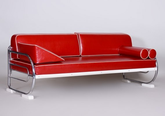 Bauhaus Red Tubular Chromed Steel Sofa by Robert Slezák, Design by Thonet, 1930s