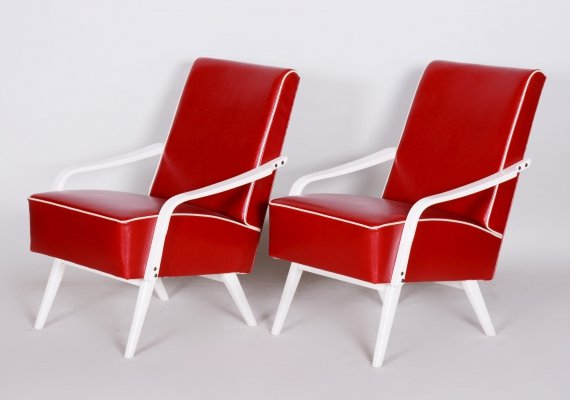 Pair of Czech Midcentury Red & White Armchairs, 1950s