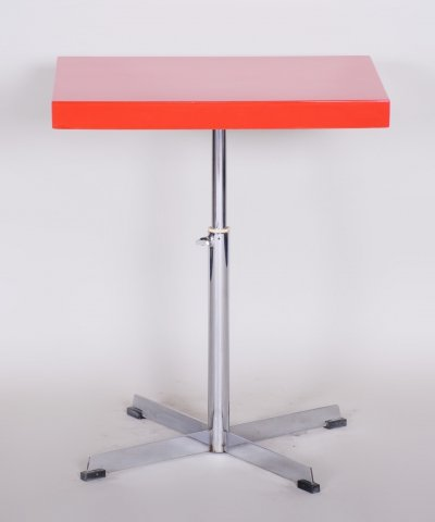 20th Century Small Height Adjustable Red & Chrome Bauhaus Table, 1930s