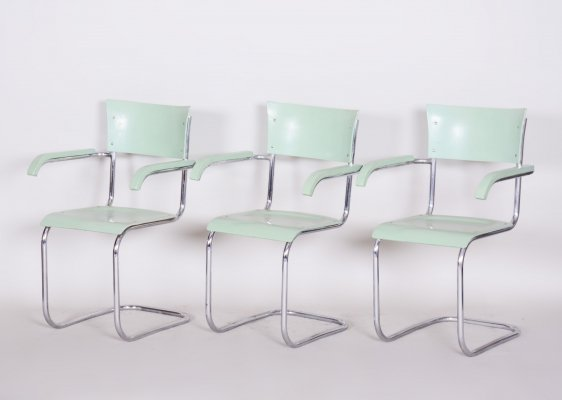 Set of 3 Czech Beech Bauhaus original Green Armchairs by Slezák, 1930s