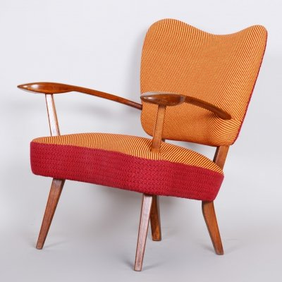 Unusual Czech Red & Orange Midcentury Oak Armchair, 1940s