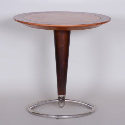 Small Brown Mid-Century Beech & Ash Chrome Round Table from Czechia, 1960s