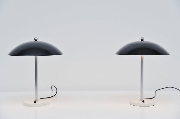 Pair of black Wim Rietveld for Gispen mushroom table lamps, 1950