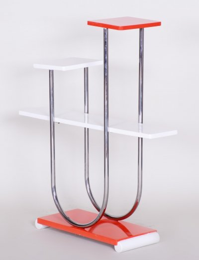 Czech Bauhaus Chrome & Lacquered Wood Flower stand by Robert Slezák, 1930s