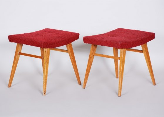 Pair of Midcentury Red Beech Stools, 1960s