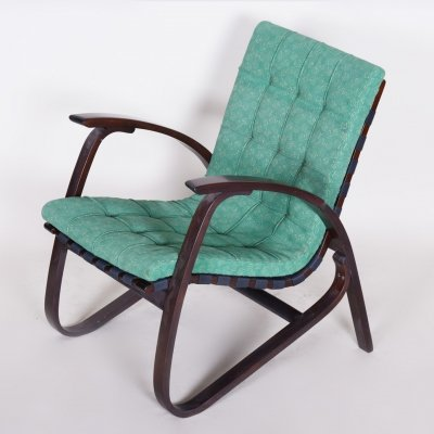Black Midcentury Beech Armchair by Jan Vaněk, 1930s