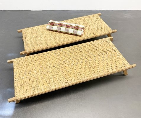 Indoor & Outdoor Little Rattan Lounger / Child Lounger / Table, 1970s