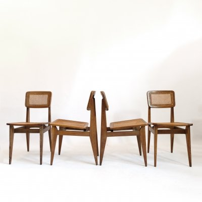 Set of 4 C cane chairs by Marcel Gascoin for Arhec, 1950's