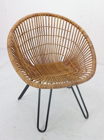 Midcentury Woven Basket Lounge Chair with Metal Hairpin Legs, 1950s