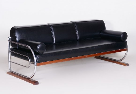 Bauhaus Black Tubular Chrome Sofa by Robert Slezák, Design by Thonet, 1930s