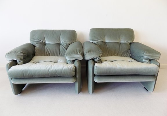 Pair of ice green Coronado armchairs by Afra & Tobia Scarpa for C&B Italia, 1960s