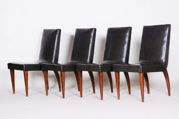 Set of 4 Czech Black Art Deco Chairs by Jindřich Halabala for UP Závody, 1930s