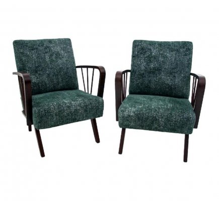 Pair of vintage green armchairs, 1960s