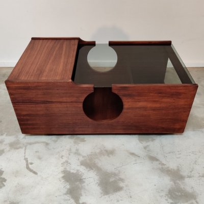 Modular Italian wood coffee table, 1970s