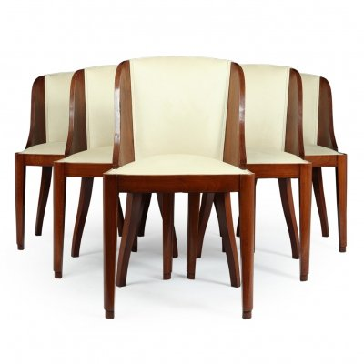 Set of 6 French Art Deco Dining Chairs