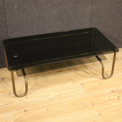 20th Century Metal & Glass Italian Design Coffee Table, 1970