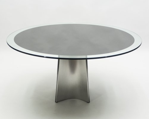 Luigi Saccardo for Maison Jansen brushed steel & glass dining table, 1970s