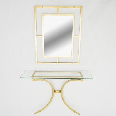 Rare Roger Thibier gilt wrought iron gold leaf console table with mirror, 1960s