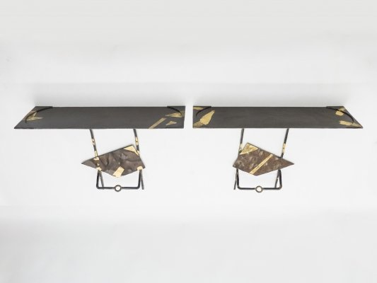 Pair of Jean-Jacques Argueyrolles console tables in Wrought Iron & Gold Leaf, 1990