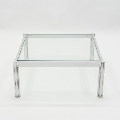 Chrome aluminium George Ciancimino square coffee table, 1975