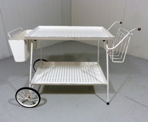 White Perforated Steel Serving Cart & Bed Table, 1950's