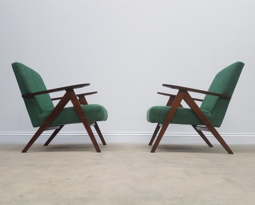 Pair of Mid Century Easy Chairs Model B - 310 Var in Forest Green