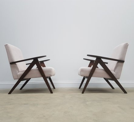 Pair of Mid Century Easy Chairs Model B - 310 Var in Light Beige, 1960s