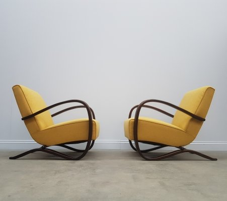 Pair of Jindrich Halabala for Thonet H-269 Bentwood Armchairs in Yellow, 1930