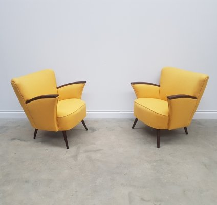 Pair of Mid Century Cocktail / Club Chairs in Yellow, 1960s