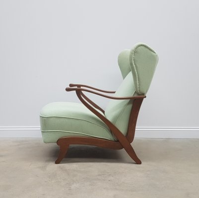 Art Deco Wingback Recliner Armchair in Light Green / Mint, 1940s