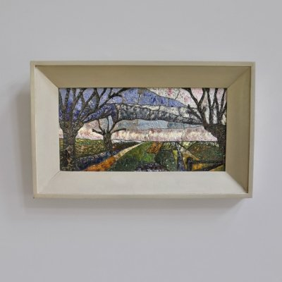 Colorful enamelled collage of a Dutch landscape, signed Y.C. 1973