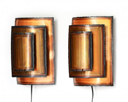 Copper wall lights/sconces by Werner Schou for Coronell Elektro, Denmark 1960s