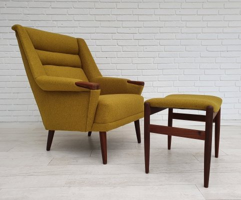 Danish armchair with stool, 1970s