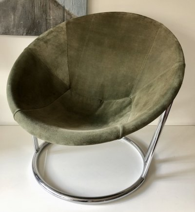 Circle chair with olive green suede by Lusch & Co, 1960's