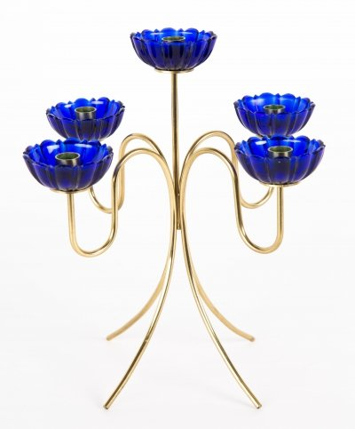 Blue glass & brass Candle holder by Gunnar Ander for Ystad Metall Sweden, 1950s