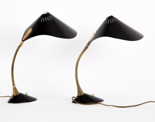 Cosack table lamps with brass standard, 1950s