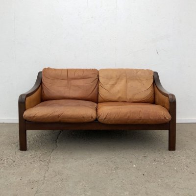 Patinated vintage cognac leather two seater sofa, 1960s