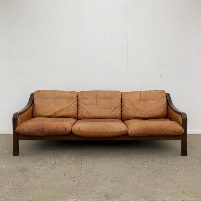Patinated vintage cognac leather lounge 3 seater sofa, 1960s