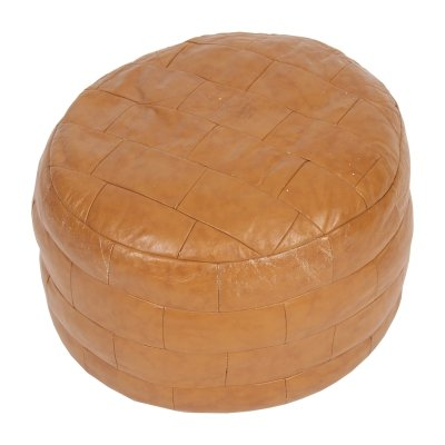 French Leather Pouffe, 1980s
