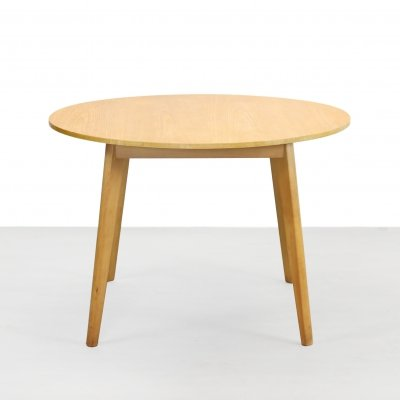 Vintage Dutch design round dining table in Beech