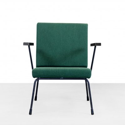 Green Gispen easy chair model 1401 by Wim Rietveld