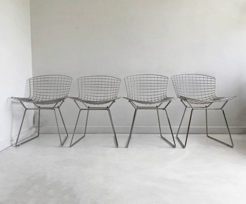4 Vintage Chrome Bertoia Side Chairs from Knoll, c.1980