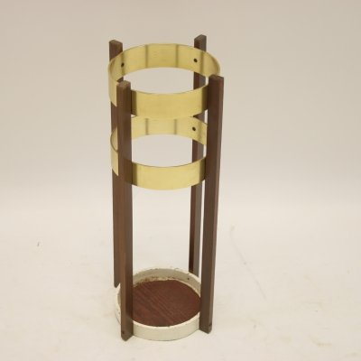 Umbrella or walking stick holder in brass & wood, 1960's