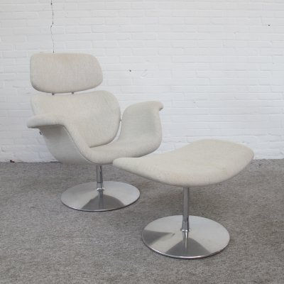 Big tulip lounge chair & ottoman by Pierre Paulin for Artifort, 1990s