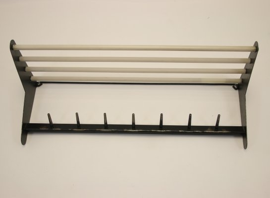 Vintage wall coat rack in black metal & white pvc