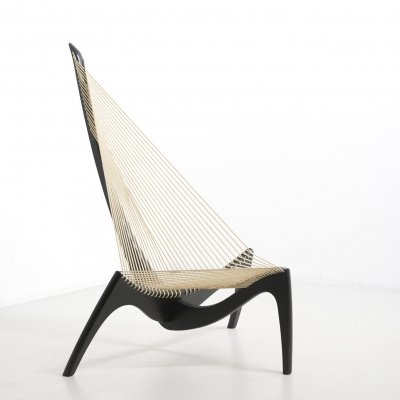 Black lacquered ash wood & rope Harp chair by Jørgen Høvelskov. Denmark 1968