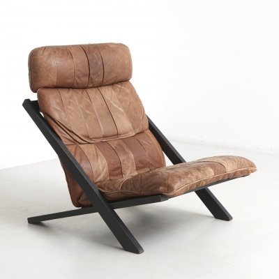 Patchwork leather lounge chair by Ueli Berger, Switzerland 1970's