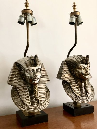 Set of 24K goldplated Pharaoh table lamps by Deknudt, 1970's