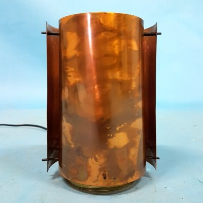 Patinated copper cylindrical table lamp, 1960s